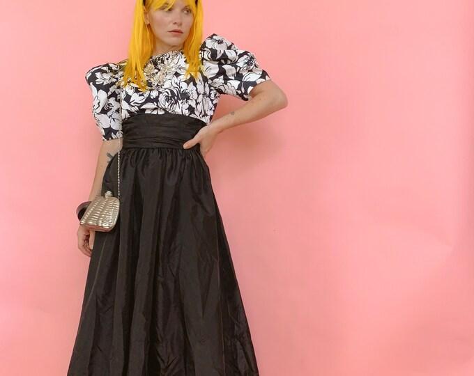 80s B/W Floral Dress
