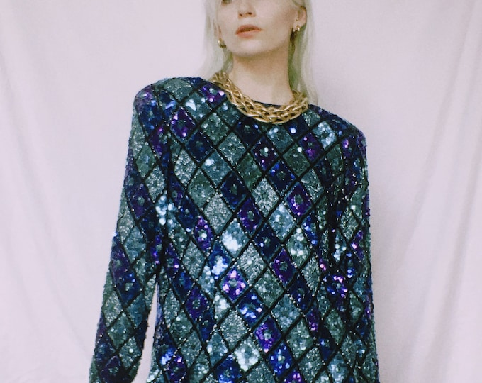 Vintage 80s | Oleg Cassini Silk Sequined Tunic