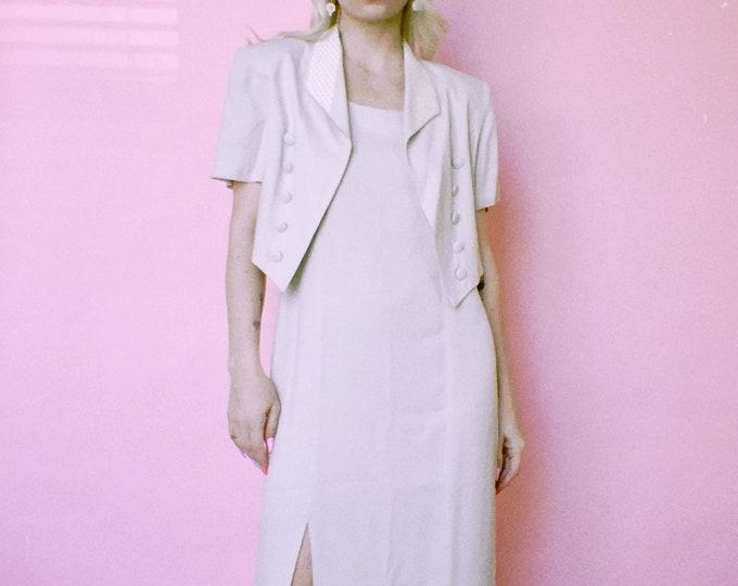 Vintage 90s | Tan Gingham Dress Set