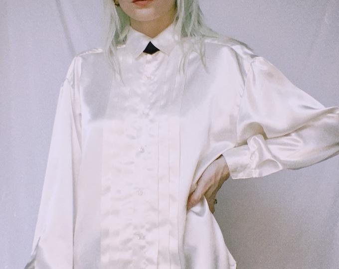 Vintage 80s | White Satin Tuxedo Blouse