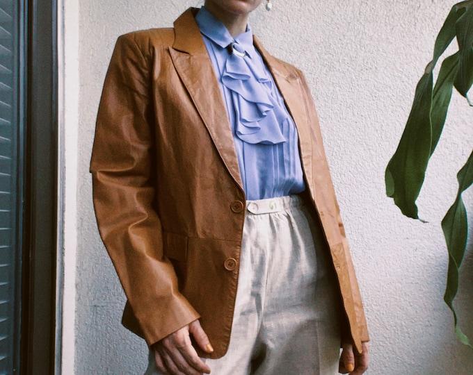 Vintage 80s Caramel Leather Blazer