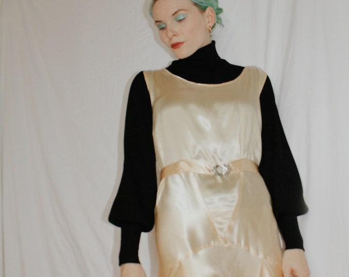 Vintage 1940s | Cream Satin Dress