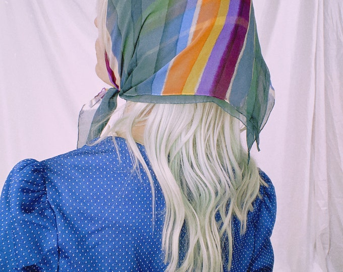 Vintage Sheer Striped Hair Scarf