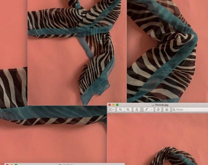 90s Chiffon Zebra Scarf