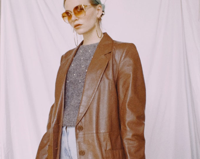 Vintage 70s | Brown Ribbed Leather Blazer
