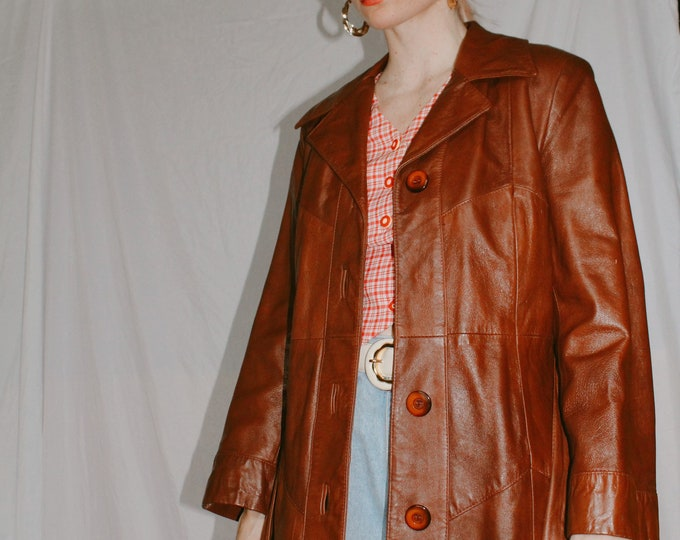 Vintage 70s | Brown Leather Trench