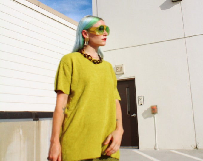 Vintage 90s | Chartreuse Chenille Sweater