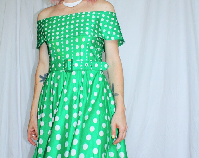 Vintage 60s | Green Dot Dress
