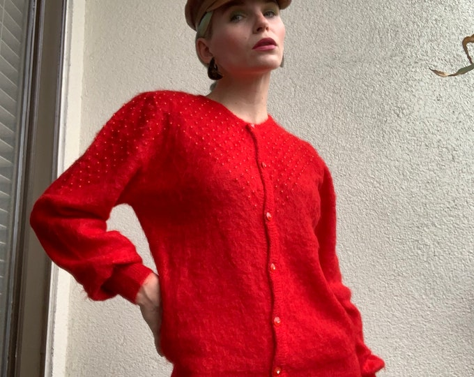 Vintage 80s | Red Mohair/Nylon Sweater Cardigan