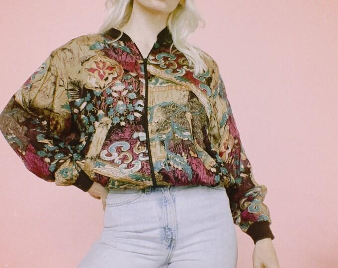 Vintage 80s Rayon Track Jacket
