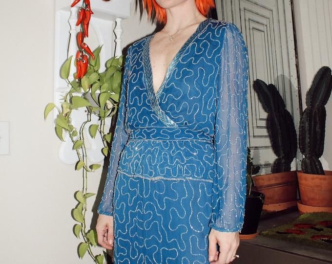 Vintage 70s Judith Ann Creations Beaded Silk Dress