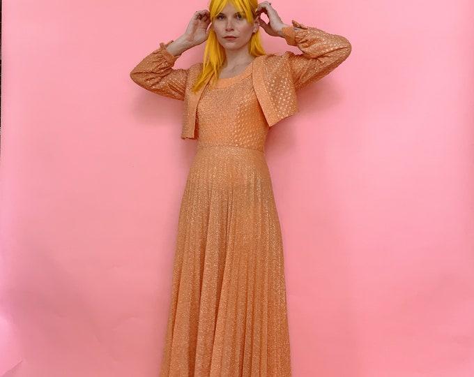 60s Metallic Peach Textured Pleated Dress with matching Cropped Bolero