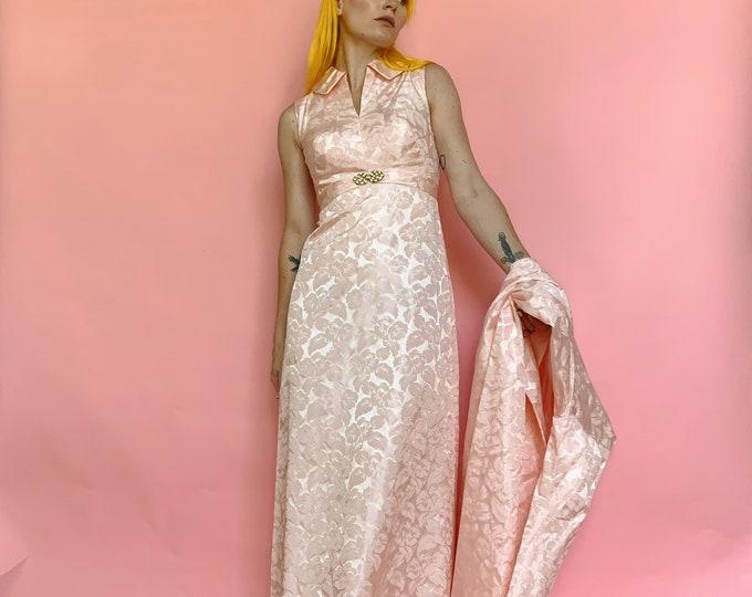 60s Brocade Pink Dress/Jacket Set