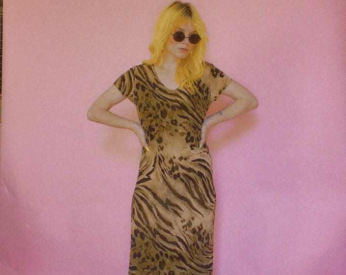 90s Poly Stretch Tiger Print Maxi Dress