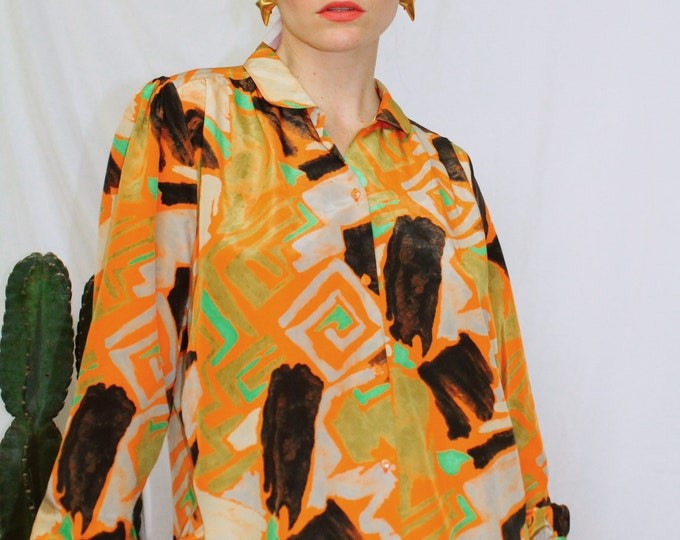Vintage 70s | Abstract Printed Blouse