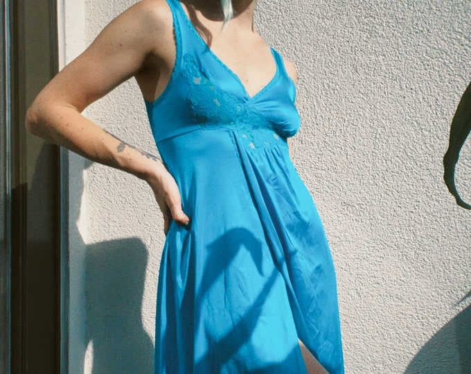 Bright Blue Nylon Slip Dress