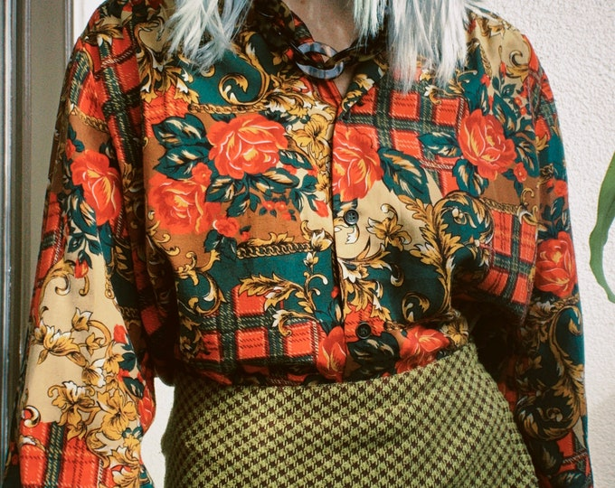 Vintage 70s | Ornate Plaid Cotton Blouse