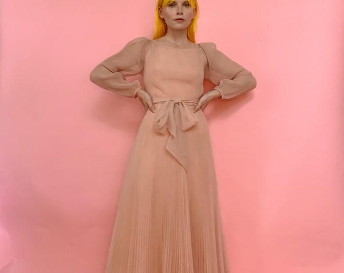 60s Miss Elliette California Blush Accordion Pleated Dress