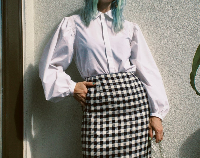Vintage 80s   Liz Claiborne Check Tweed Skirt