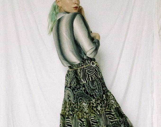 Vintage 90s | Tiered Mixed Print Midi Skirt