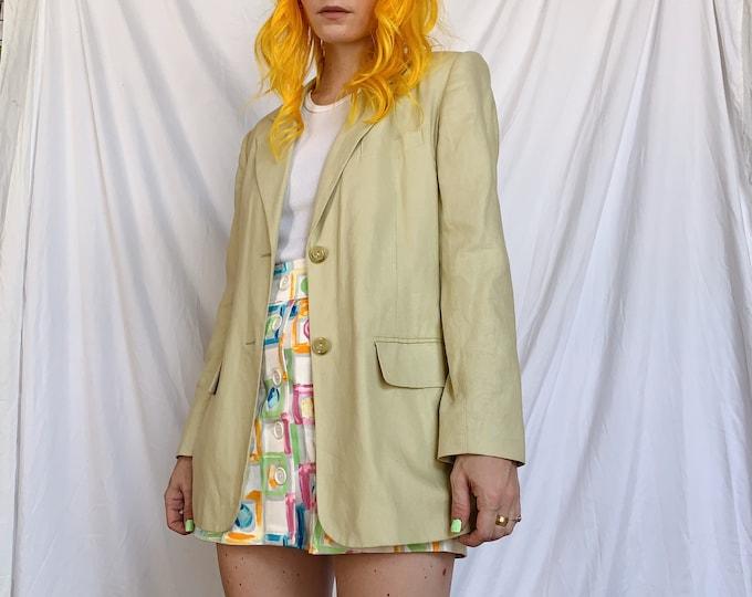 Vintage Pastel Lime Linen/Rayon Blazer