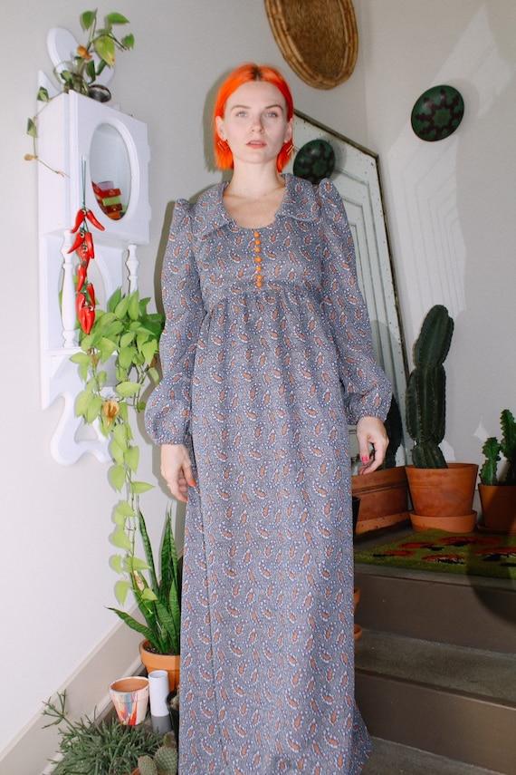 60s Paisley Print Long Sleeve Dress