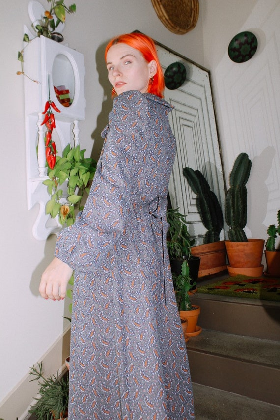 60s Paisley Print Long Sleeve Dress - image 3