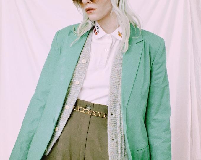 Vintage 90s | Green Linen Blend Blazer