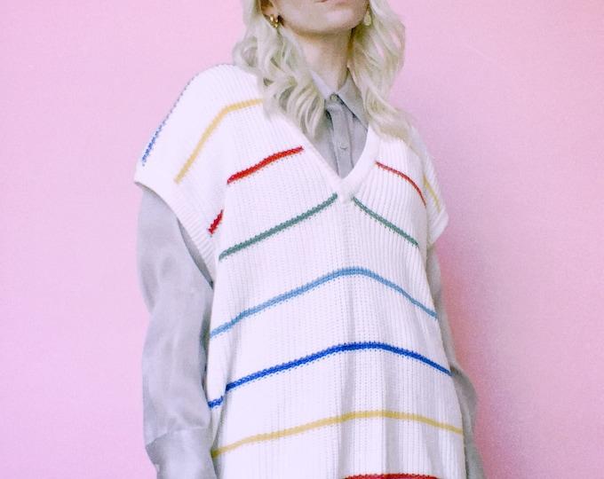 Vintage 80s   Rainbow Stripe Sweater Vest