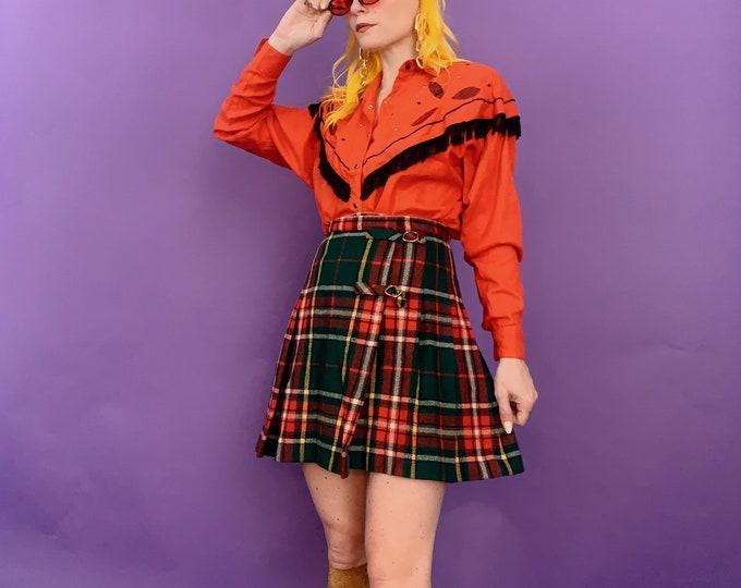 Vintage 70s | Plaid Wrap Pleated Mini Skirt