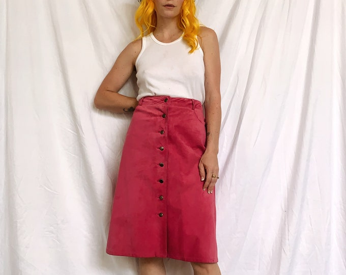 Vintage Pink Suede Button Up Skirt