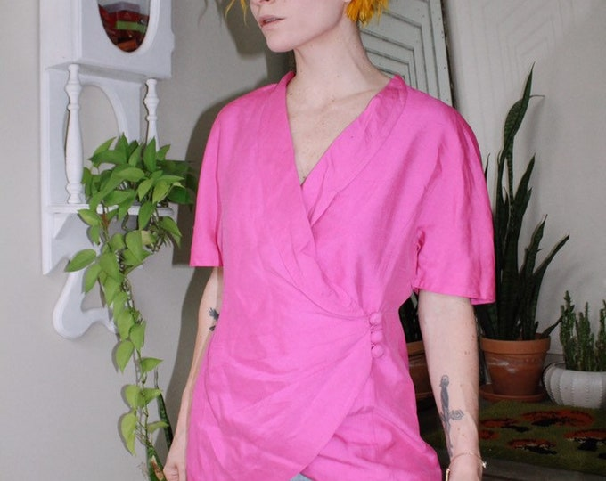 Hot Pink Silk Blouse
