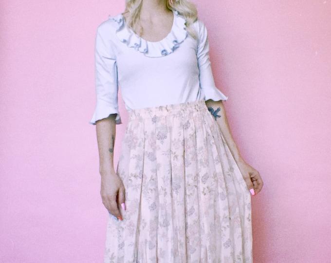 Vintage Delicate Floral Silk Midi Skirt