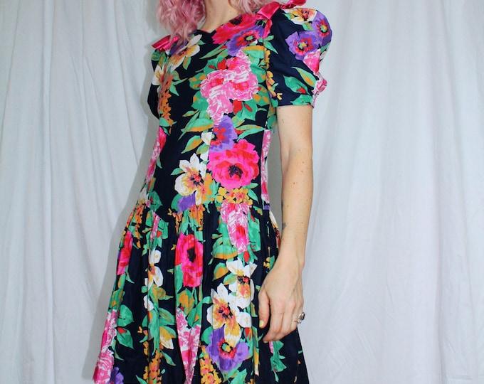 Vintage 80s | Drop Waist Floral Print Dress