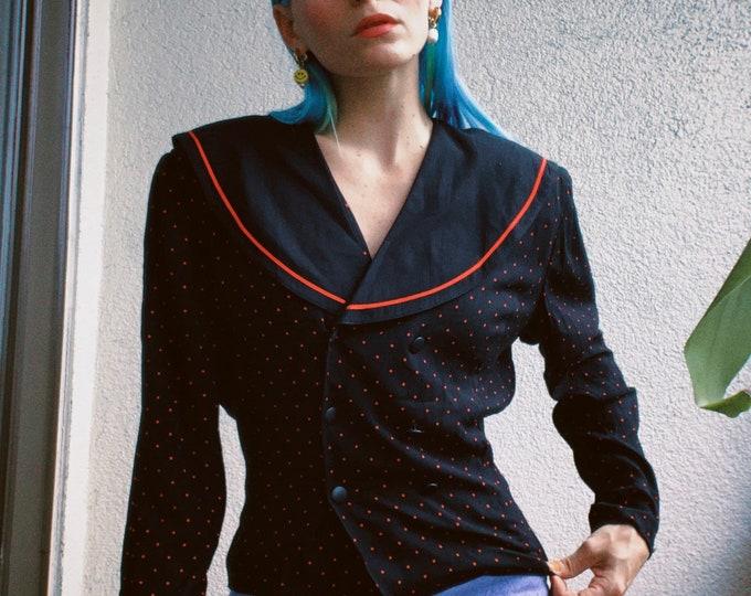 80s Polka Dot Blouse