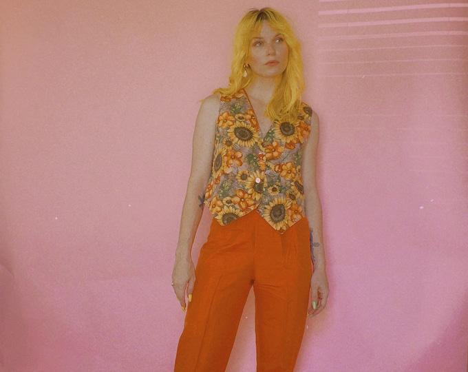 90s Orange Taffeta Pants