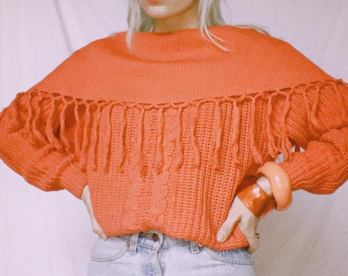 Vintage 80s | Coral Fringe Sweater