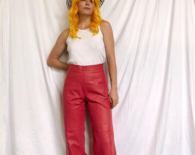 Vintage Pink Leather Y2K Pants