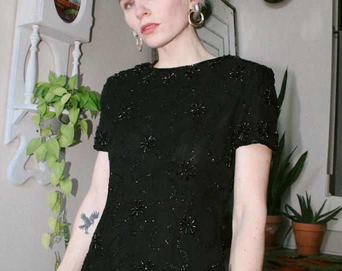 Beaded Black Silk Mini Dress