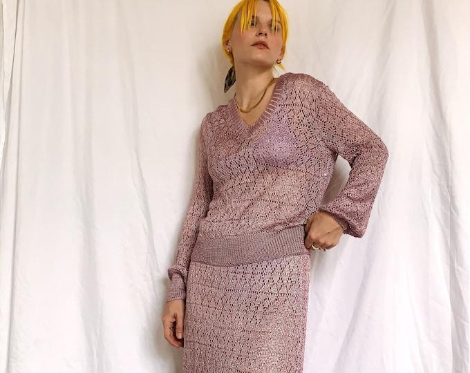 70s Lillie Rubin Metallic Lilac Knit Set