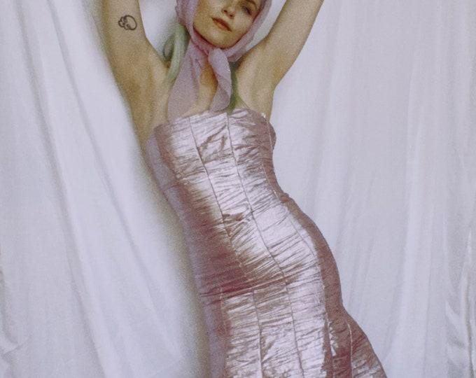 Vintage Jessica McClintock Metallic Pink Gown