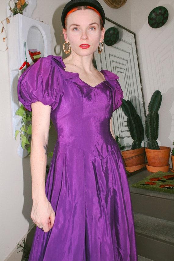 80s Purple Taffeta Dress