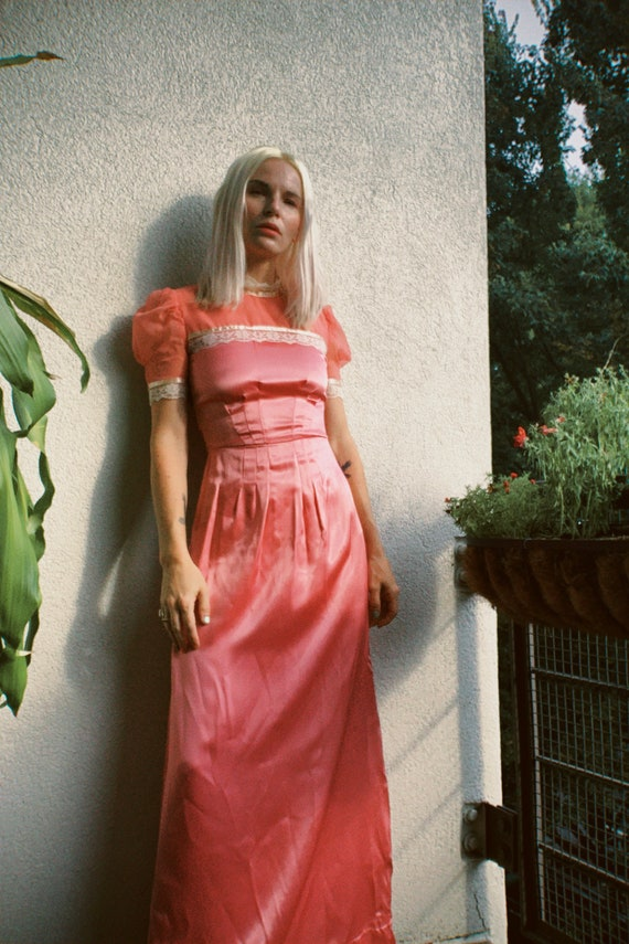 Vintage 60s 70s Pastel Pink Polyester Mod Maxi Dress Gown Hostess Party Cocktail