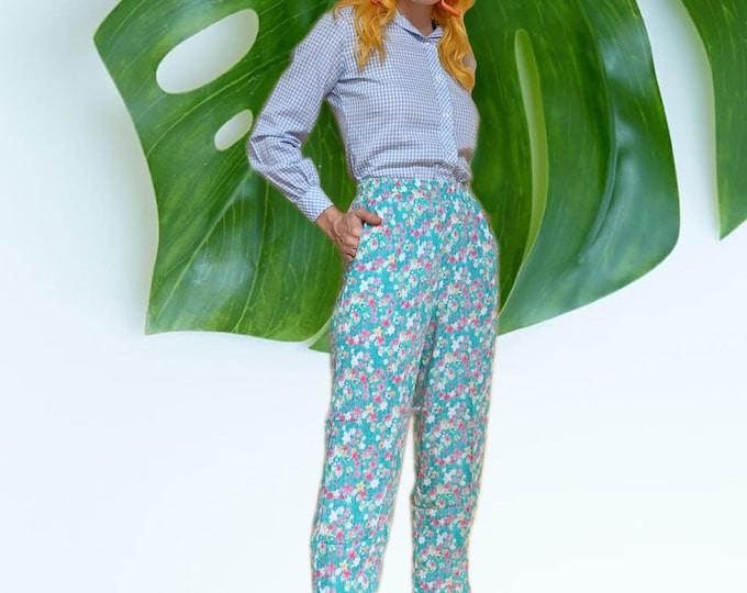 Vintage 90s Floral Rayon Crinkle Pants
