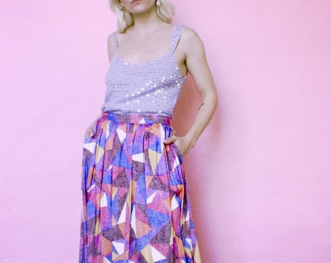 Vintage 90s   Colorful Geometric Midi Skirt