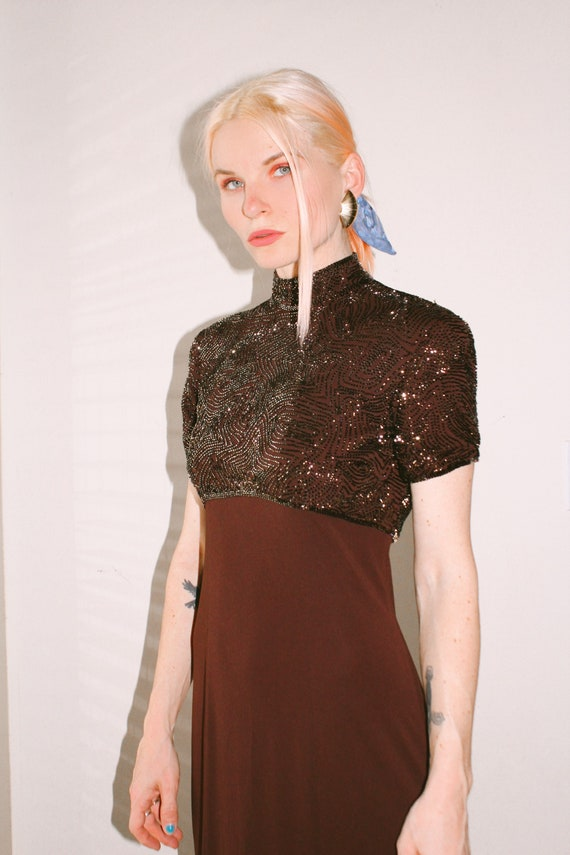 Vintage | Brown Beaded Evening Gown
