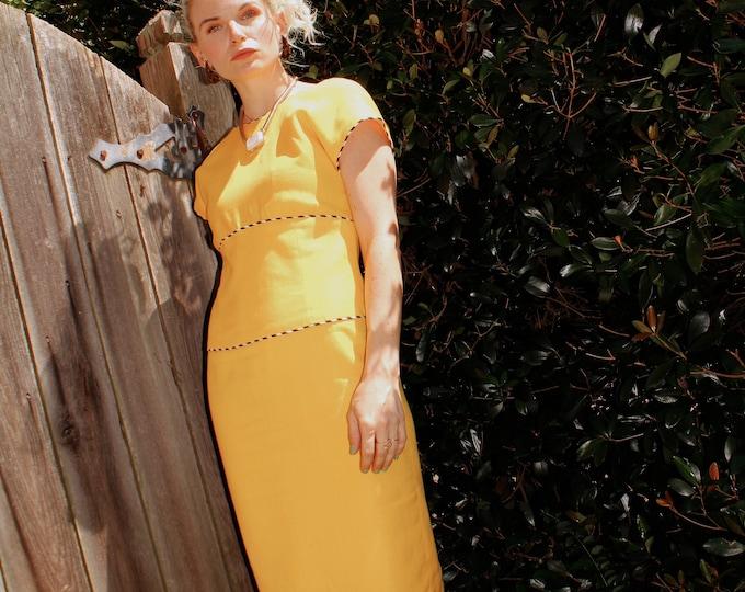Vintage 1980s   Yellow Wiggle Dress
