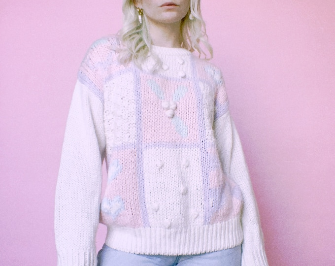 Vintage 80s   Hand Knit Sweet Patchwork Sweater