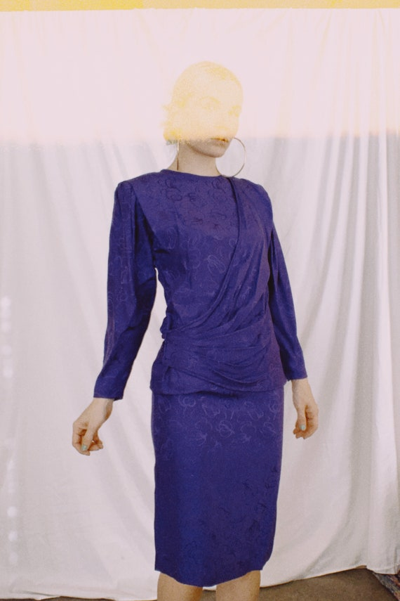 Vintage 80s   Violet Silk Skirt Set