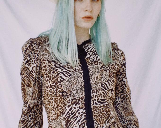 Vintage 80s | Quilted Animal Print Jacket